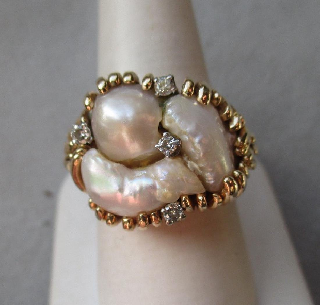 Vintage 14k Gold and Baroque Pearl & Diamond Ring