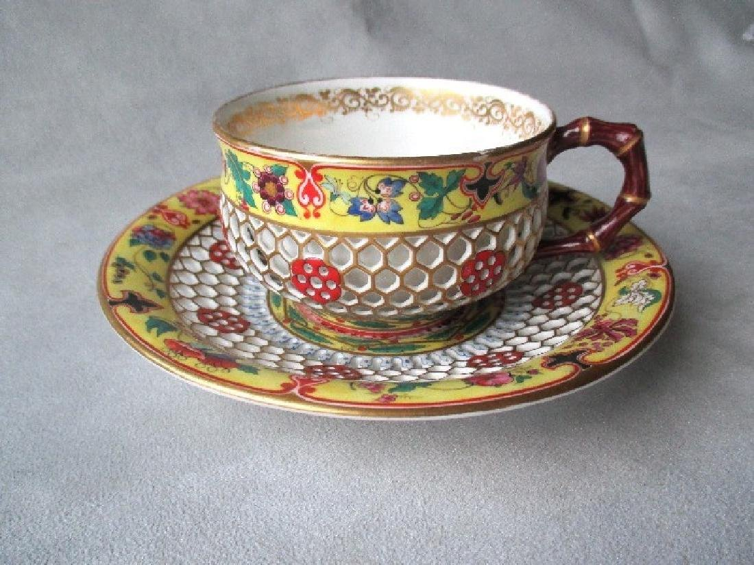 Chamberlains Worcester Honeycomb Cup and Saucer
