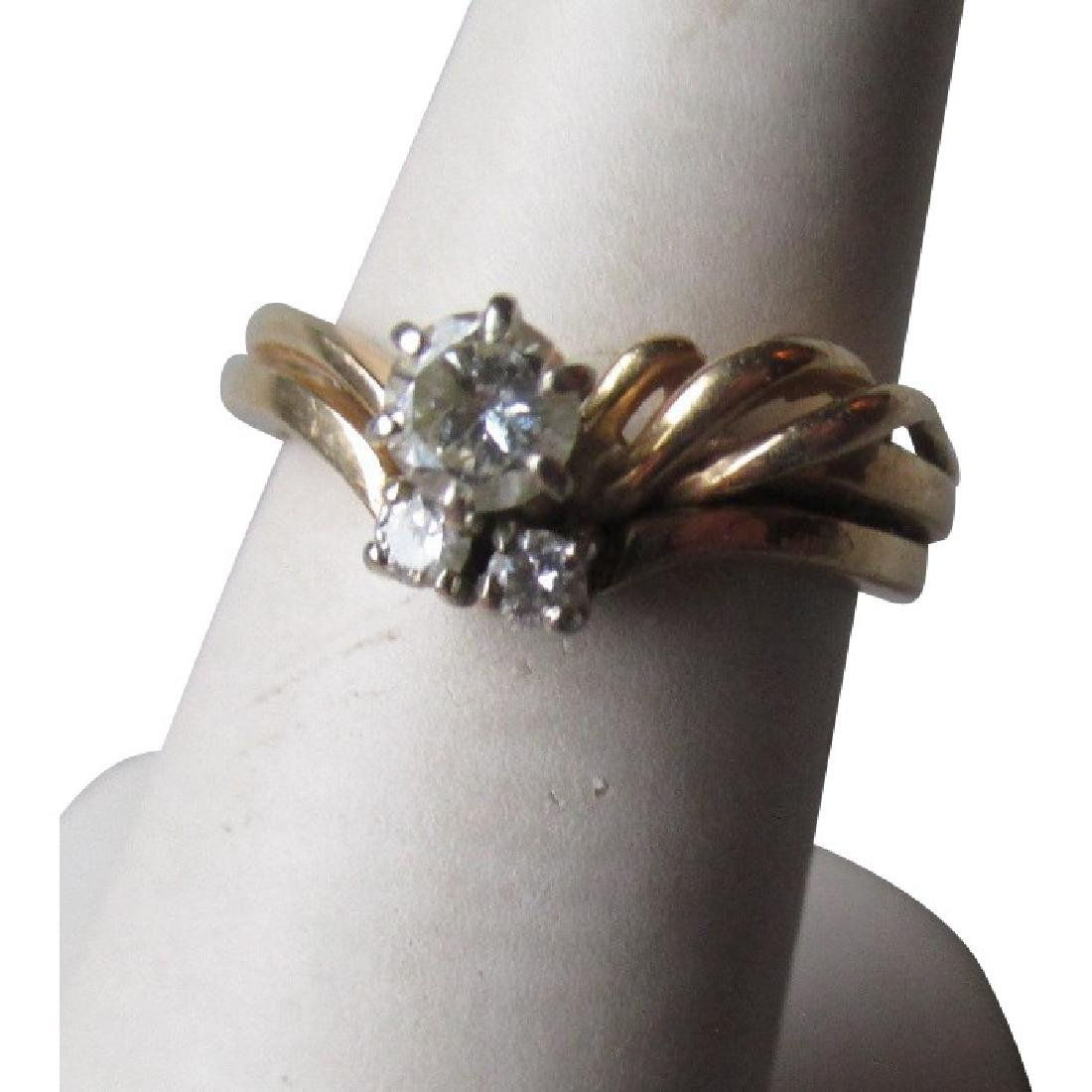 14k Gold and Diamond Wedding Ring Set