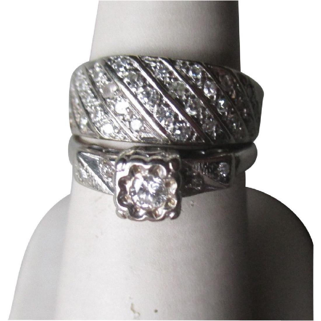 14k Gold and Diamond Wedding Ring Set