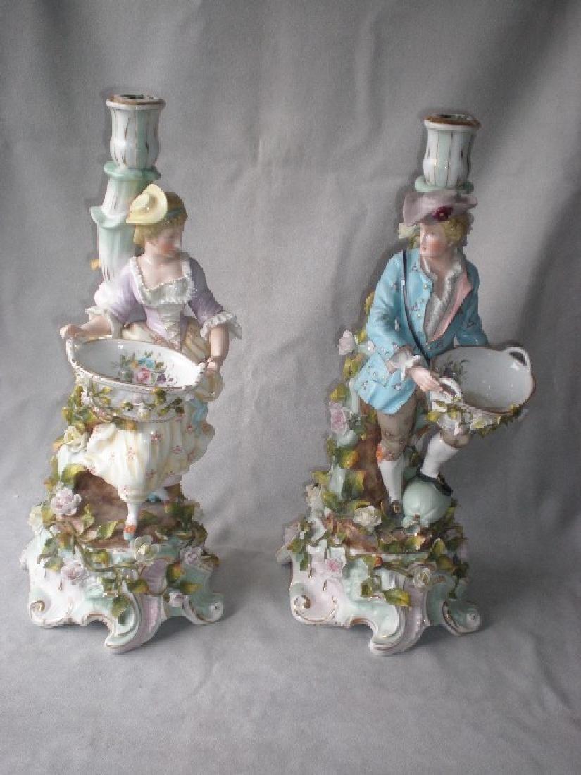 Stunning Pair Schierholz German Porcelain Figural
