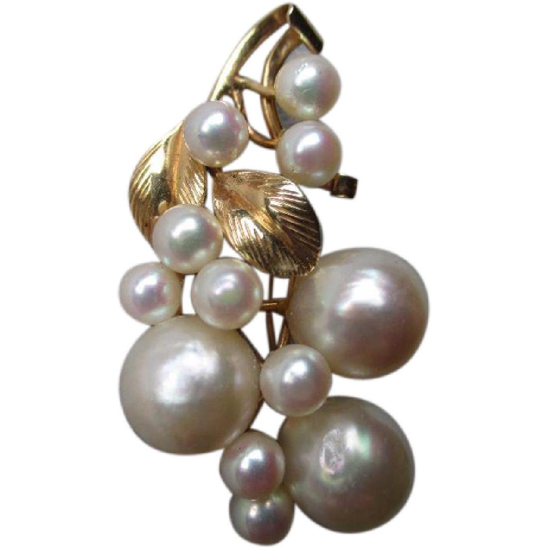Gorgeous Mings of Hawaii 14k Gold and Pearl Pin or