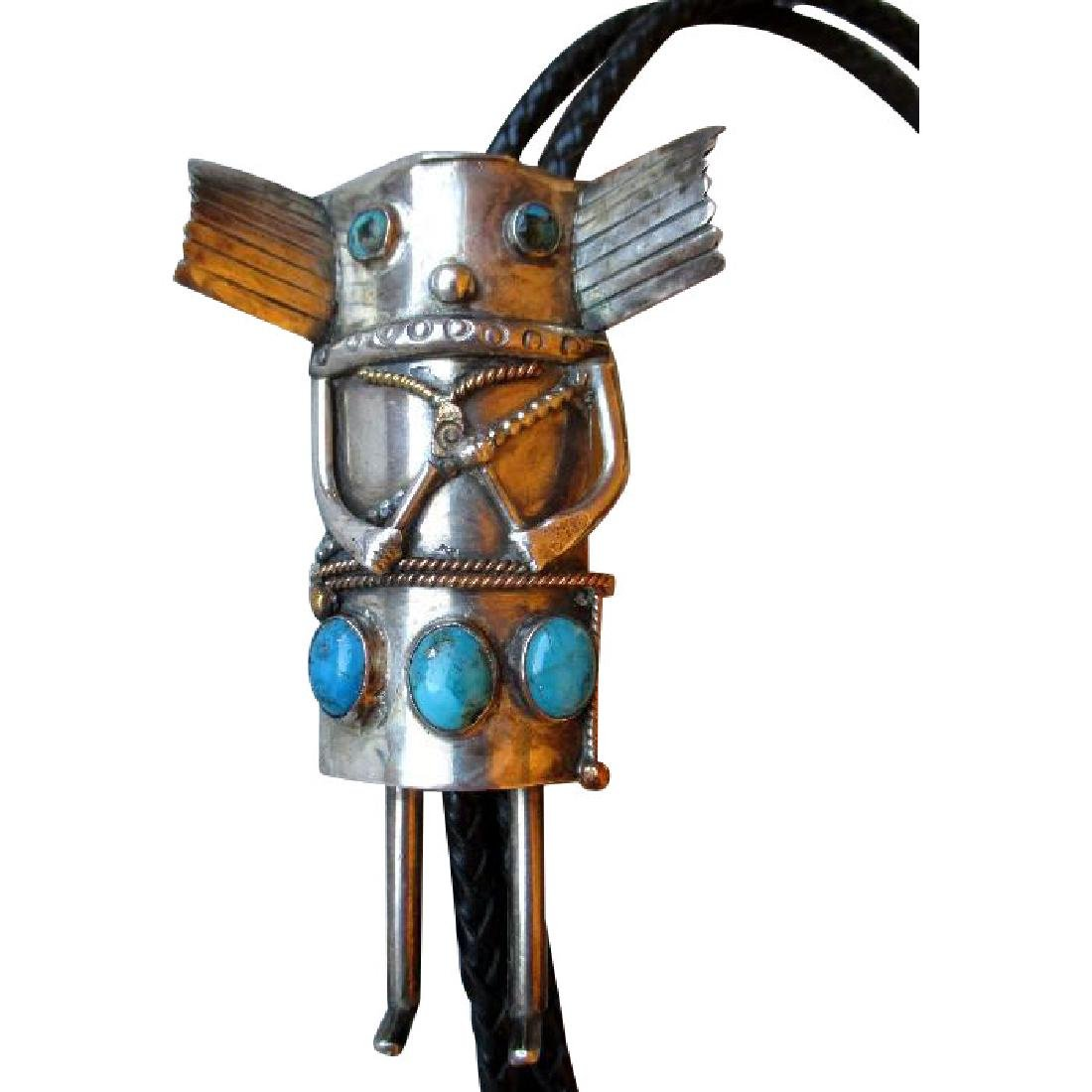 Stunning Hopi Kachina Silver and Turquoise Bolo Tie