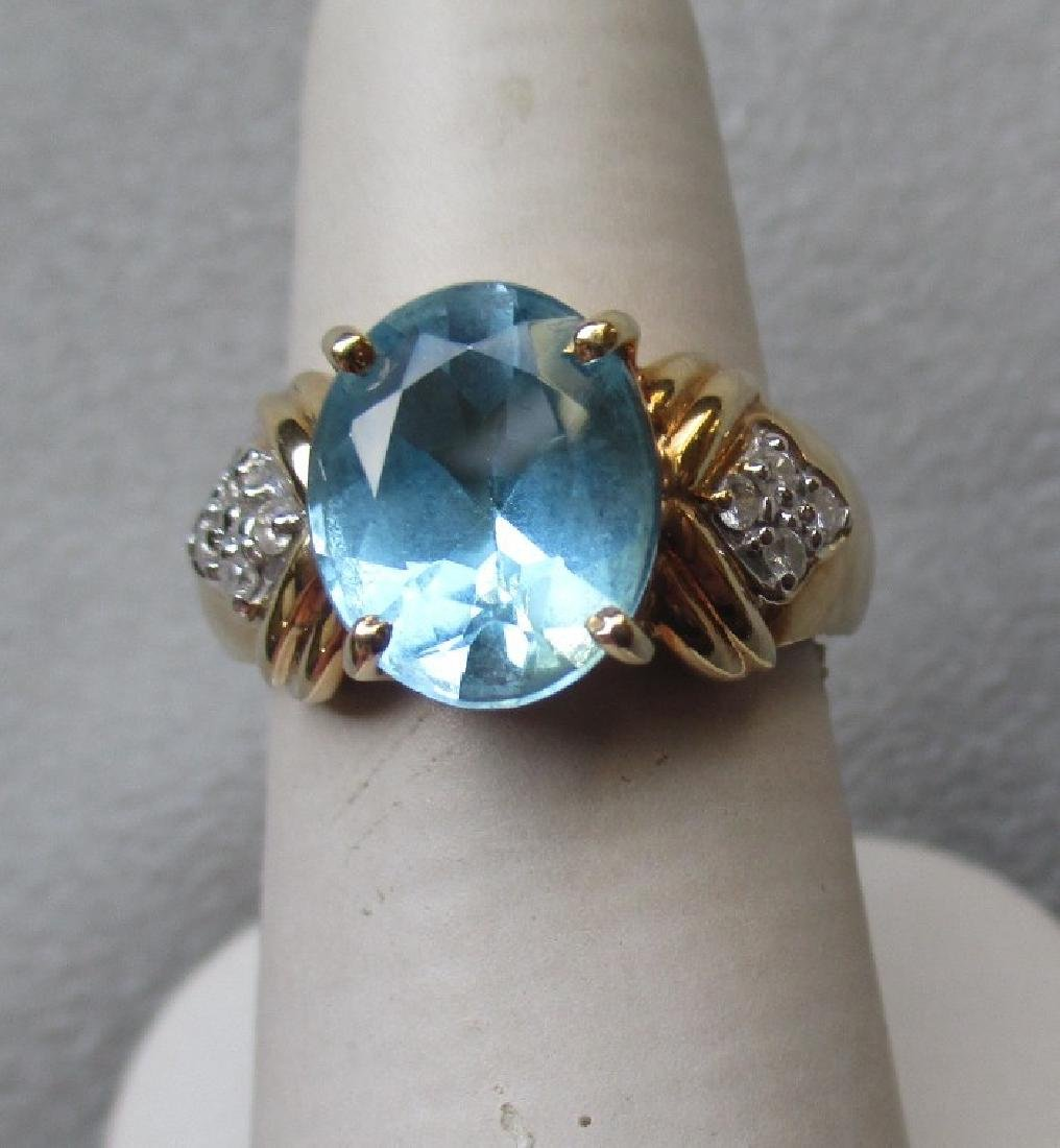14k Gold and Blue Topaz with Diamond Ring