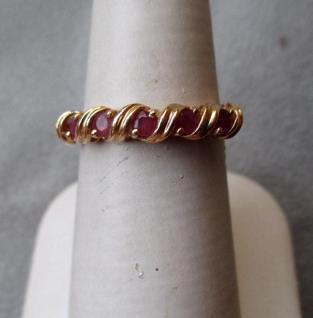 14k Gold and Ruby Ribbon Ring