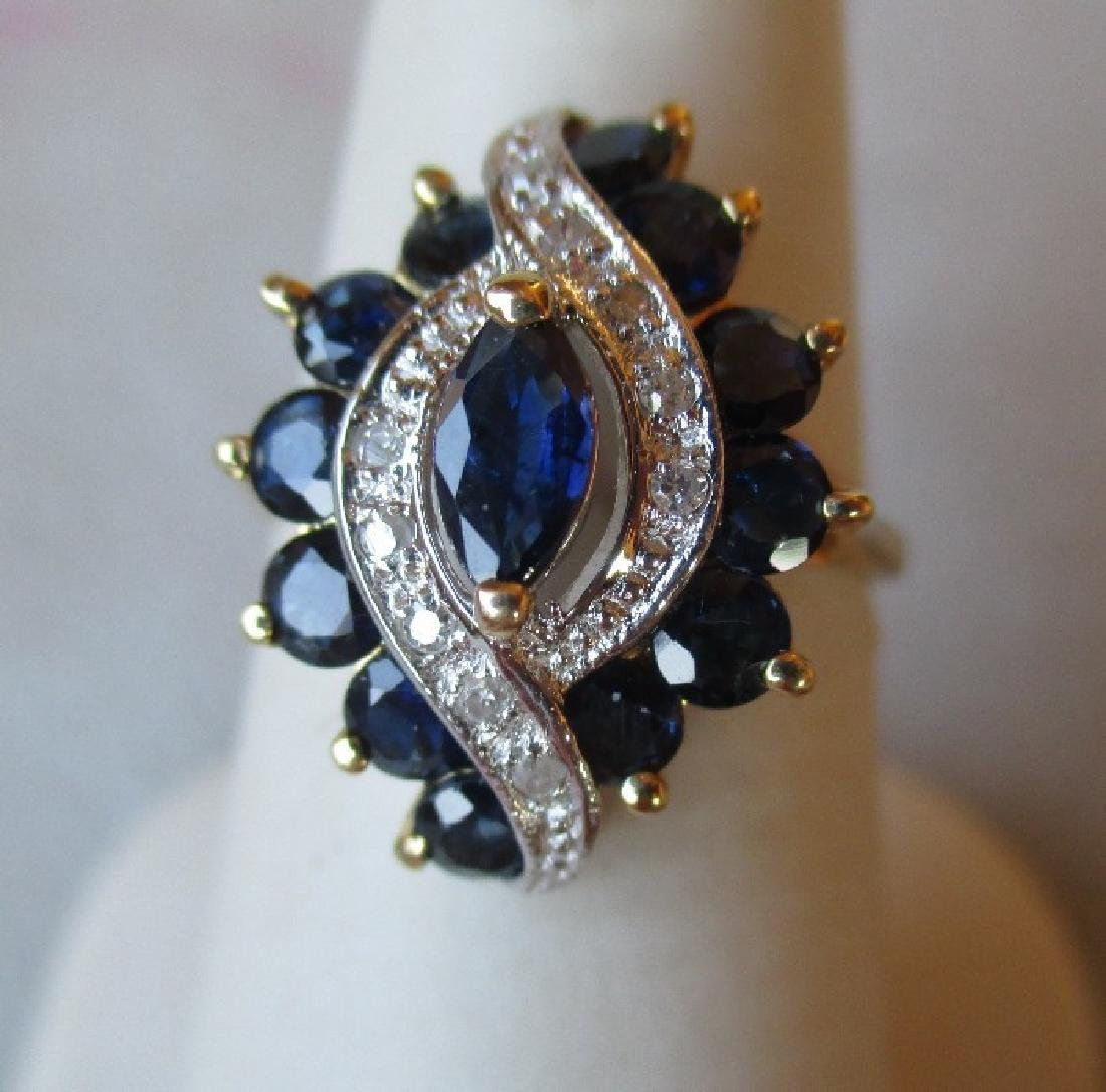 14k Gold and Sapphire / Diamond Ring