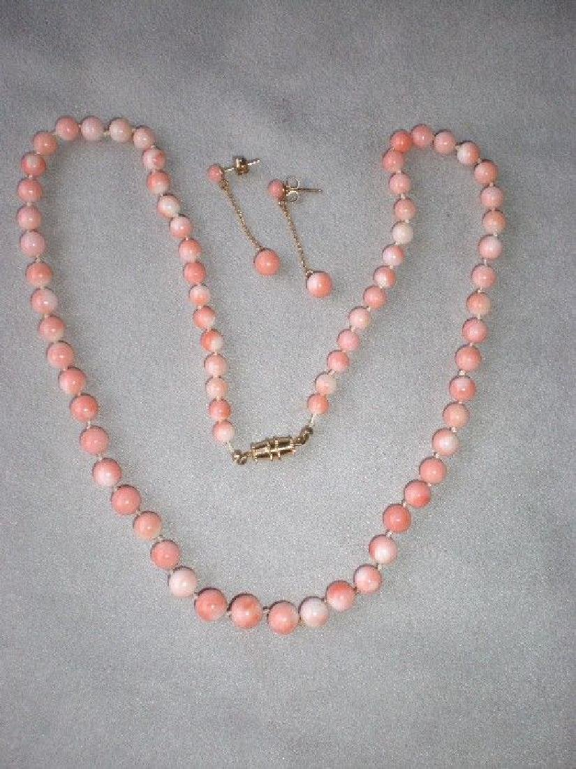 Gorgeous Angel Skin Coral Necklace with Matching