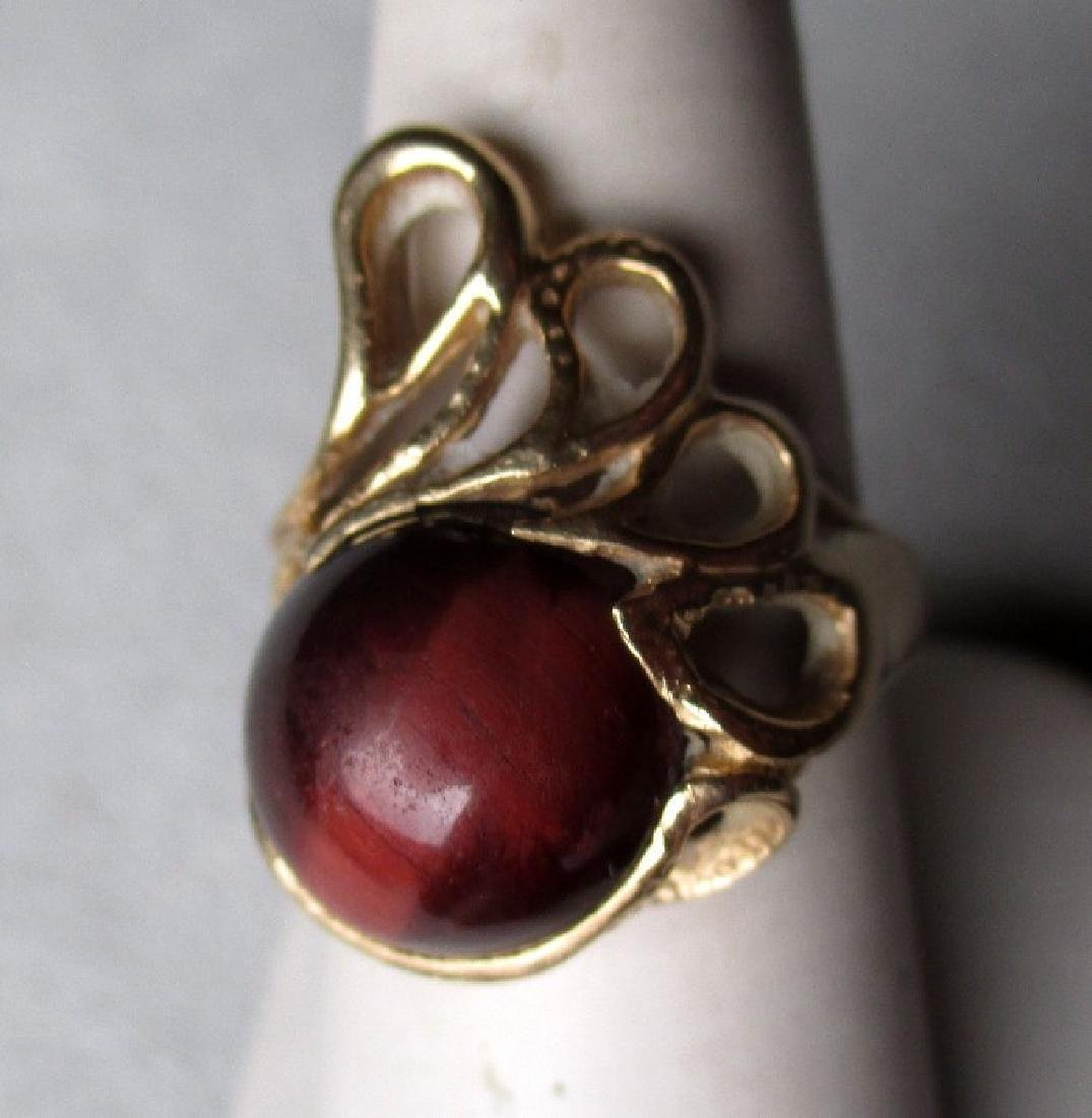 14k Gold and Tiger Eye Asymmetrical Ring