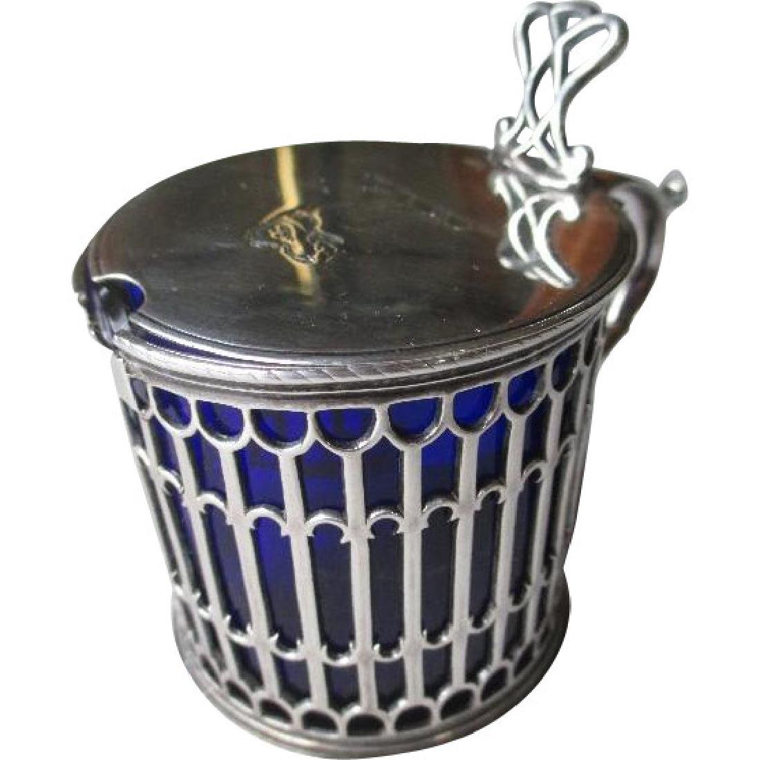 1771 English Sterling Silver Mustard Pot with Cobalt