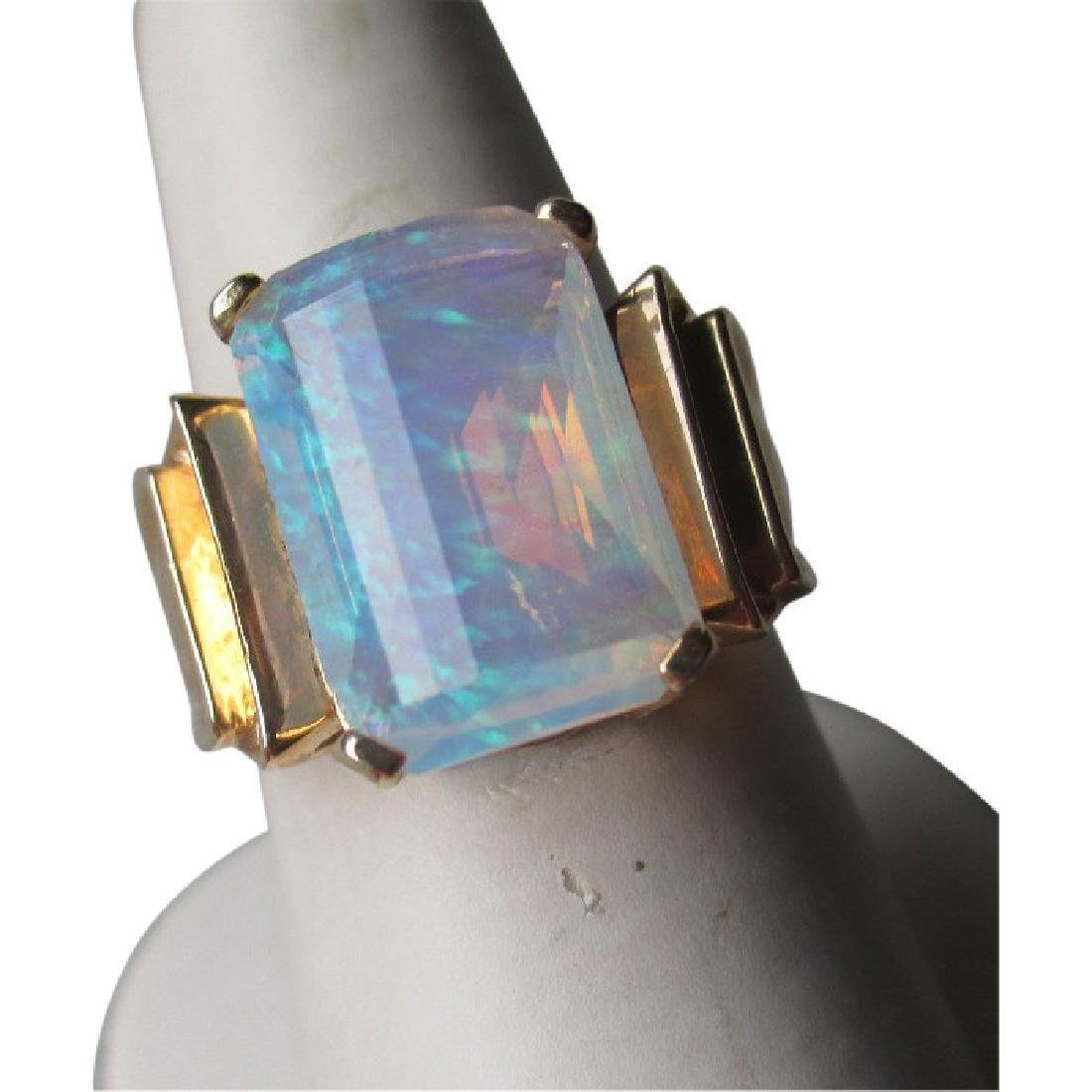 10k Gold and Synthetic Fantasy Cut Opal Ring