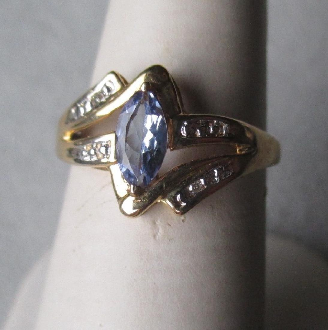 14k Gold and Marquis Tanzanite with Diamond Ring