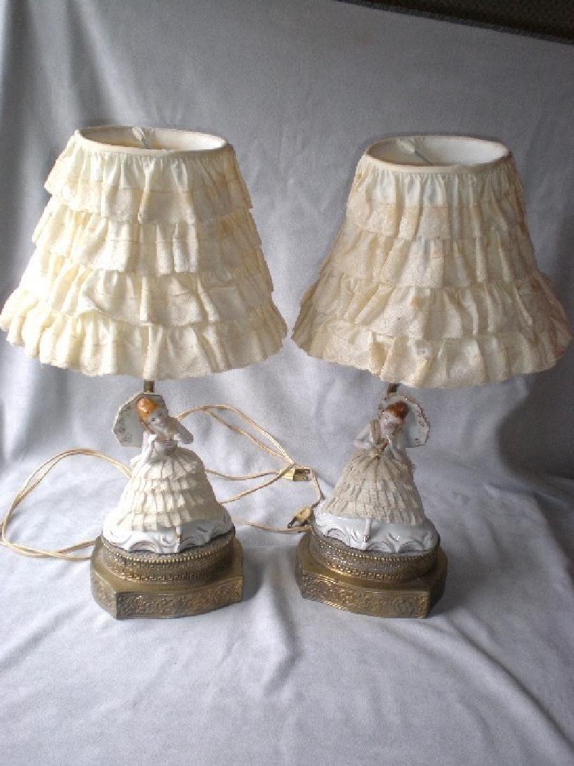 Very Charming Pair Vintage Porcelain Lace Lamps