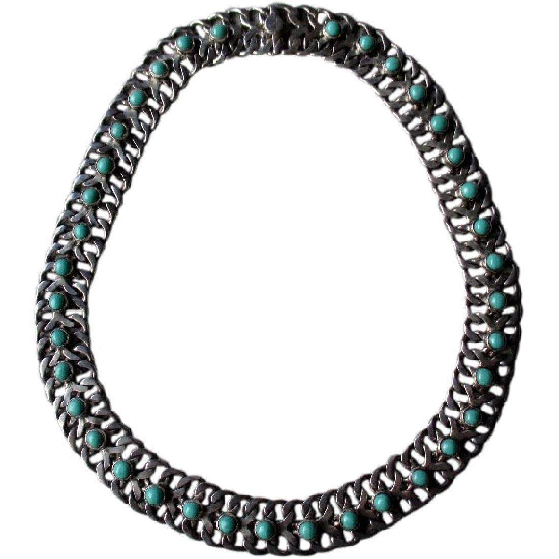 Mexican Sterling Silver and Turquoise Link Style