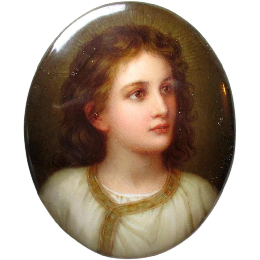 "Gorgeous ""Firenze"" Painted Porcelain Plaque - Signed"