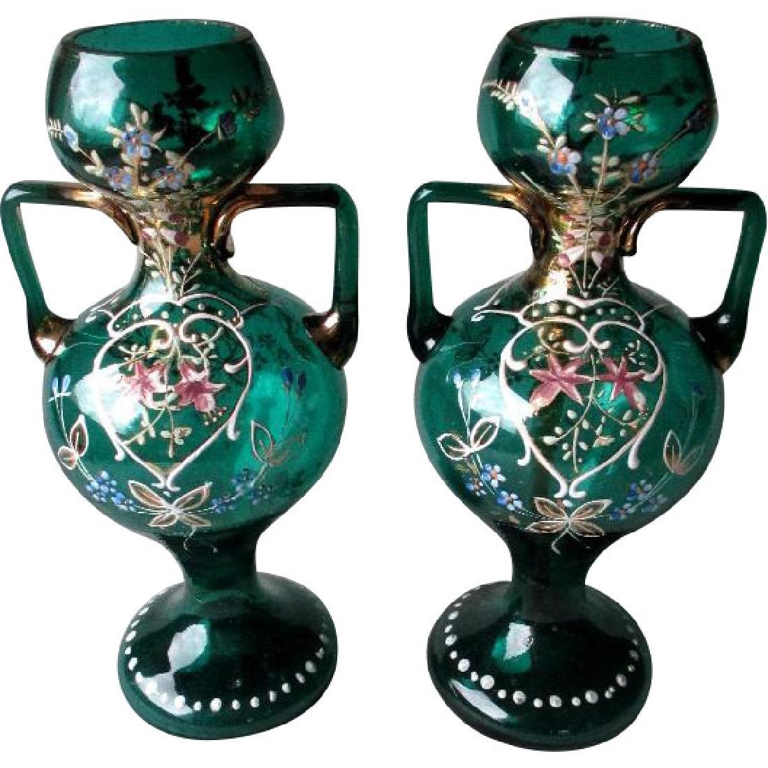 Matched Pair Stunning Bohemian Enamel Glass Vases