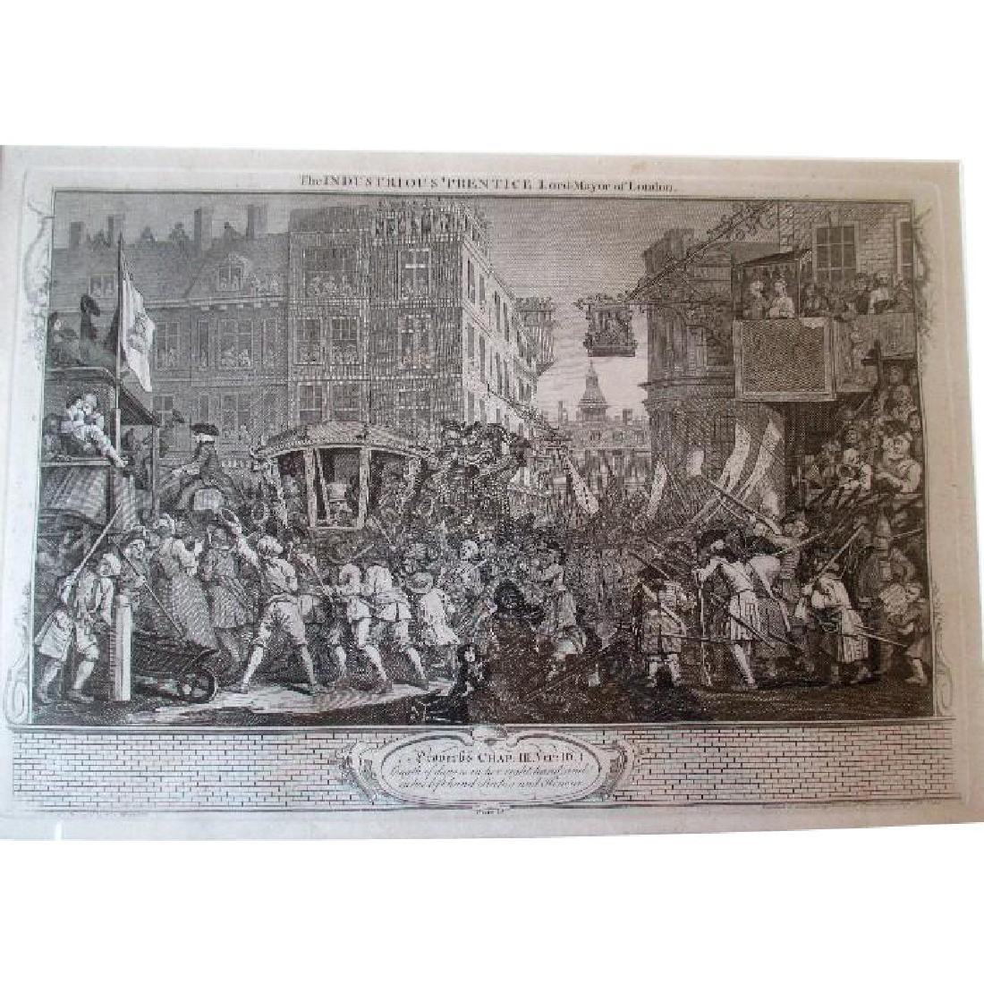 Antique Hogarth Print - Industry and Idleness - Lord