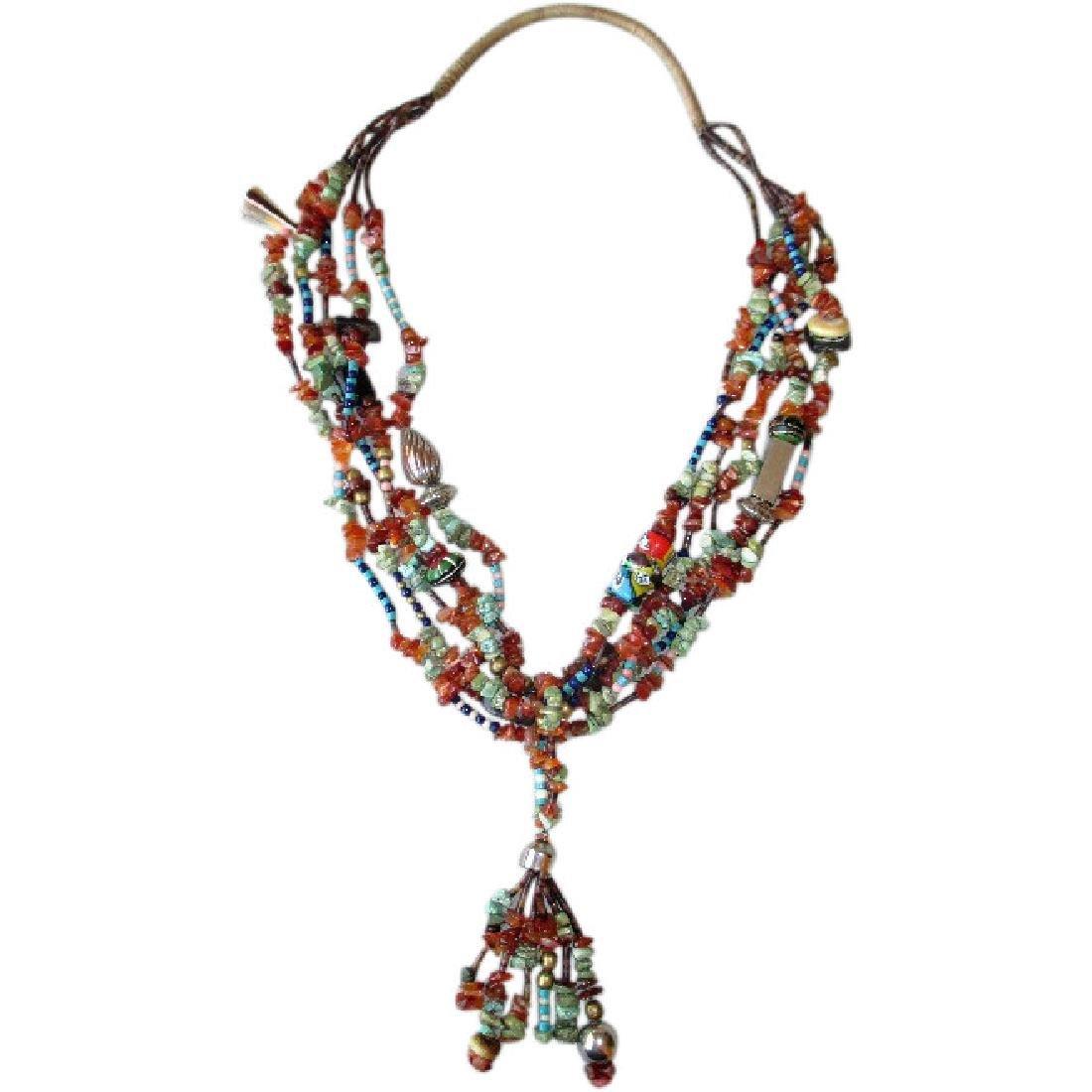 Stunning Five Strand Multi- Bead Native Necklace
