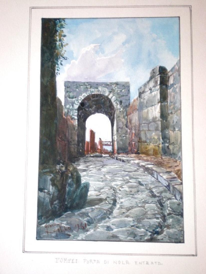 """Original Watercolor of """"Pompei"""" by Giovanni Gallo"""
