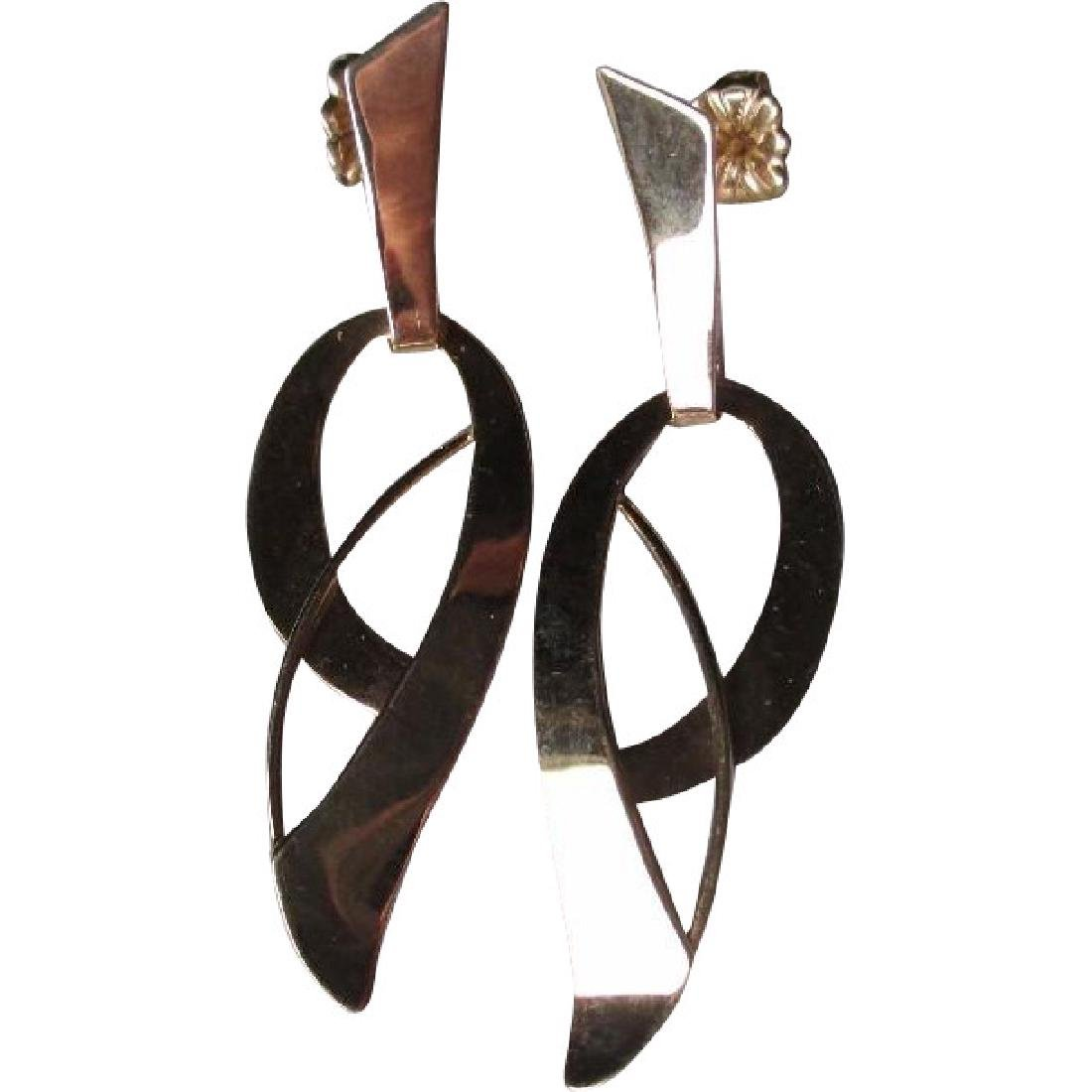 Great Pair 14k Gold Modernist Style Earrings