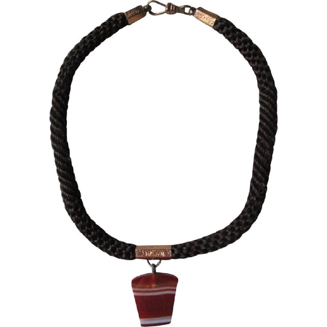 Victorian Woven Hair Mourning Choker Necklace with