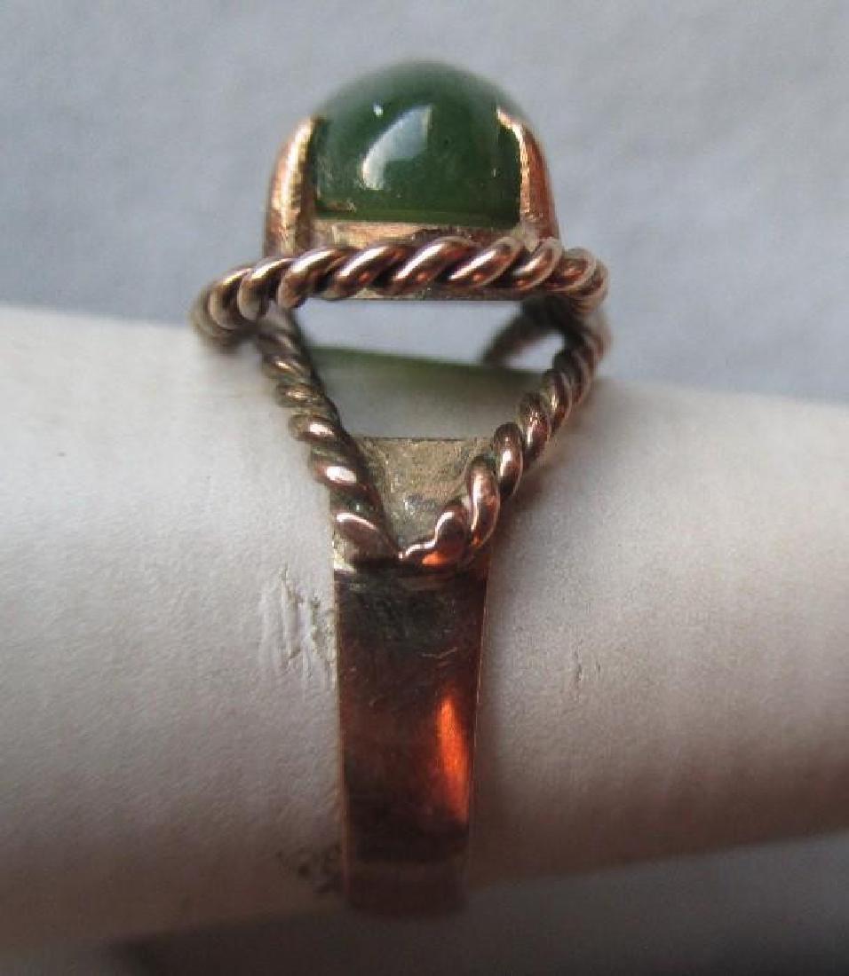 Fun 14k Gold and Green Jade Ring - 2