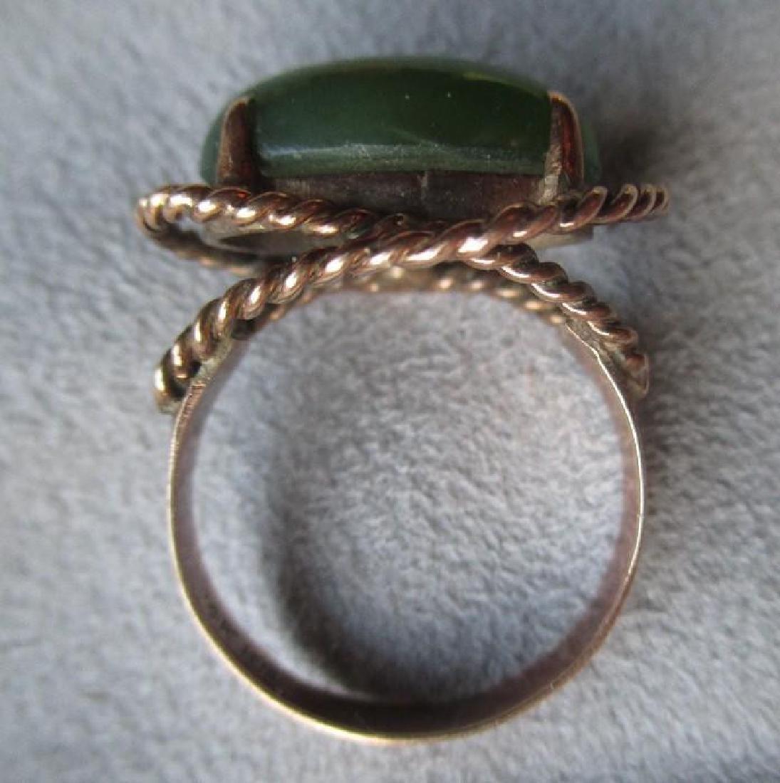 Fun 14k Gold and Green Jade Ring - 3