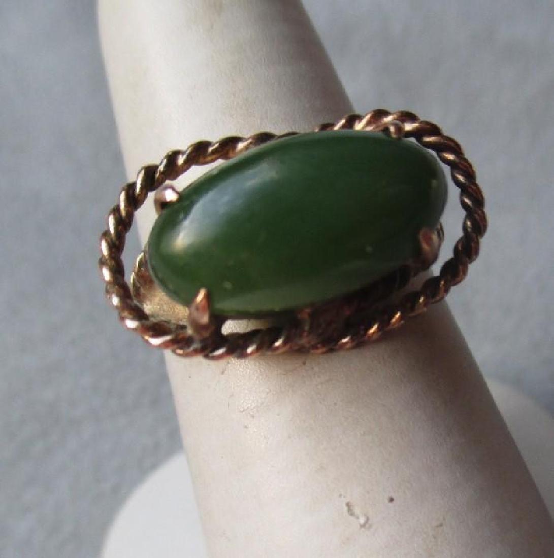 Fun 14k Gold and Green Jade Ring - 5