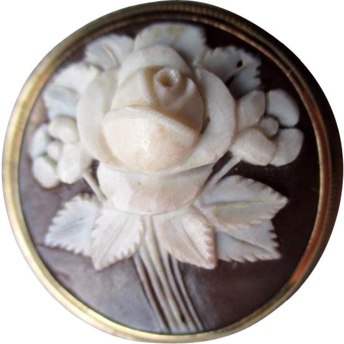 Gorgeous Floral Cameo with 14k Gold Frame