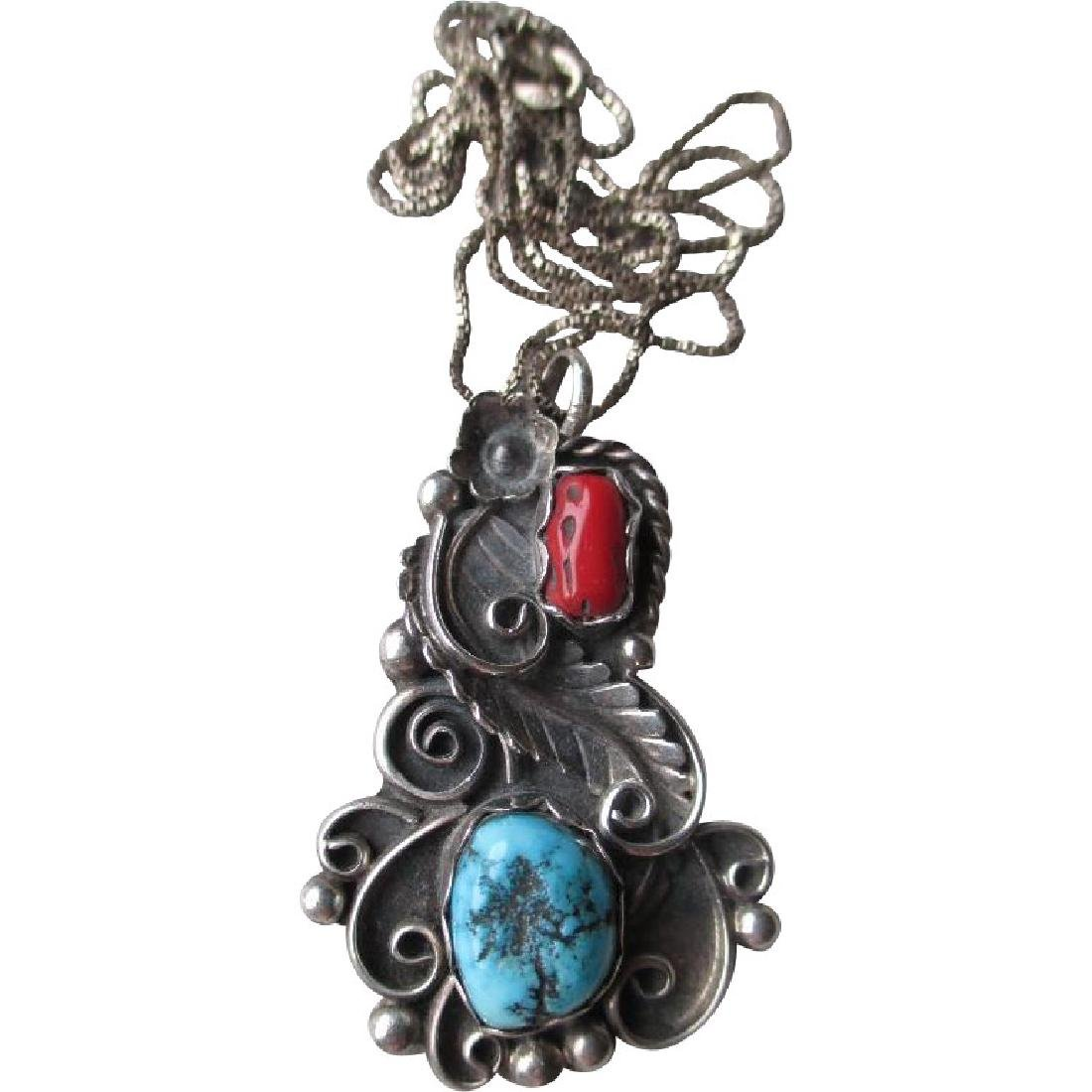 Unmarked Silver and Turquoise with Coral Pendant -