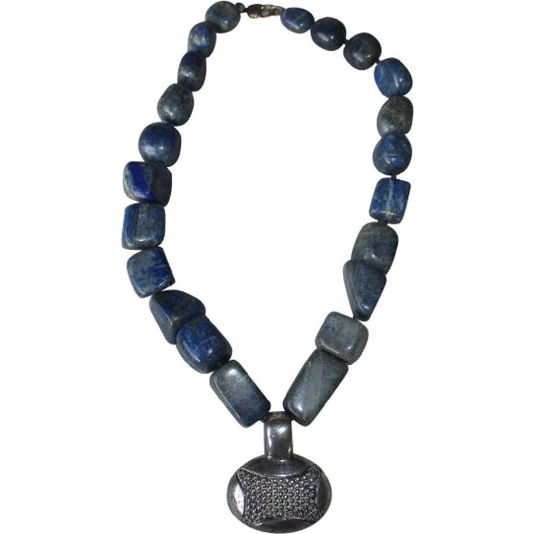 Signed Sodalite Nugget Necklace with Sterling Silver