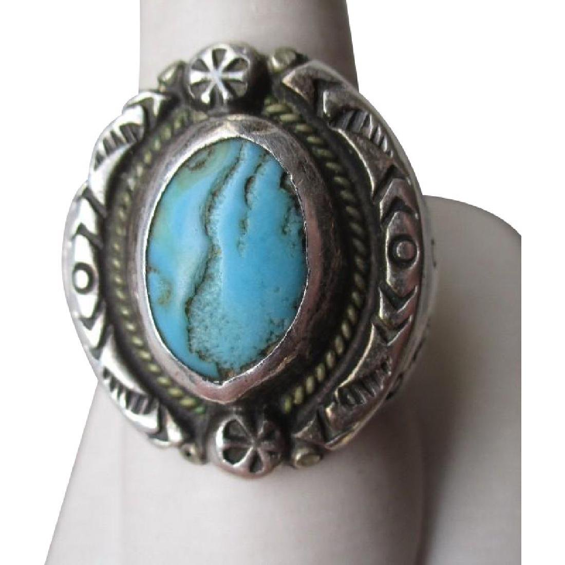 Fabulous Sterling Silver and Turquoise Men's Ring