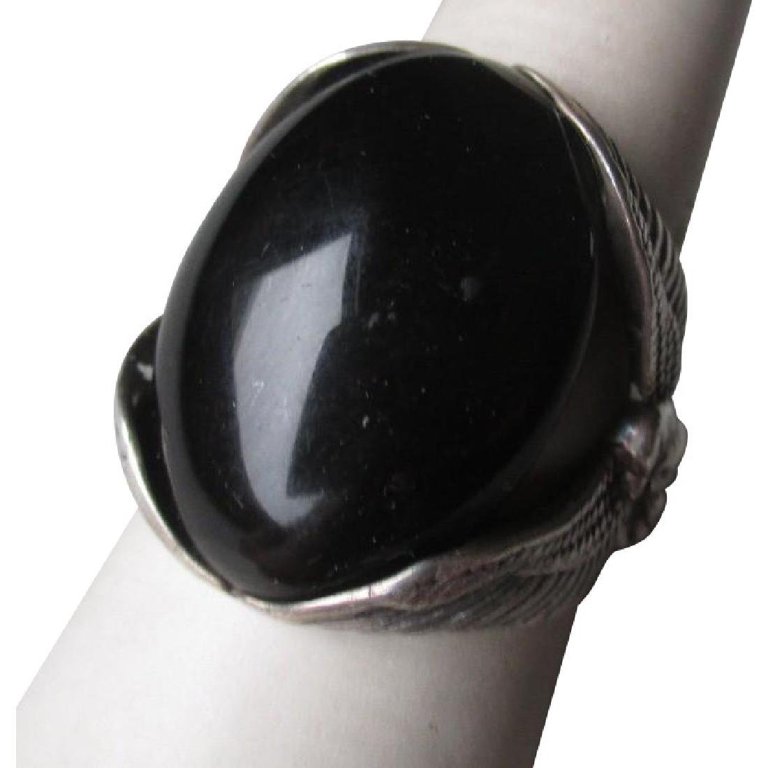 Stunning Sterling Silver and Black Onyx Men's Ring with