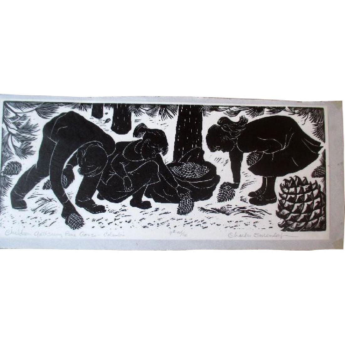 Signed / Numbered Linocut by Charles Surendorf -