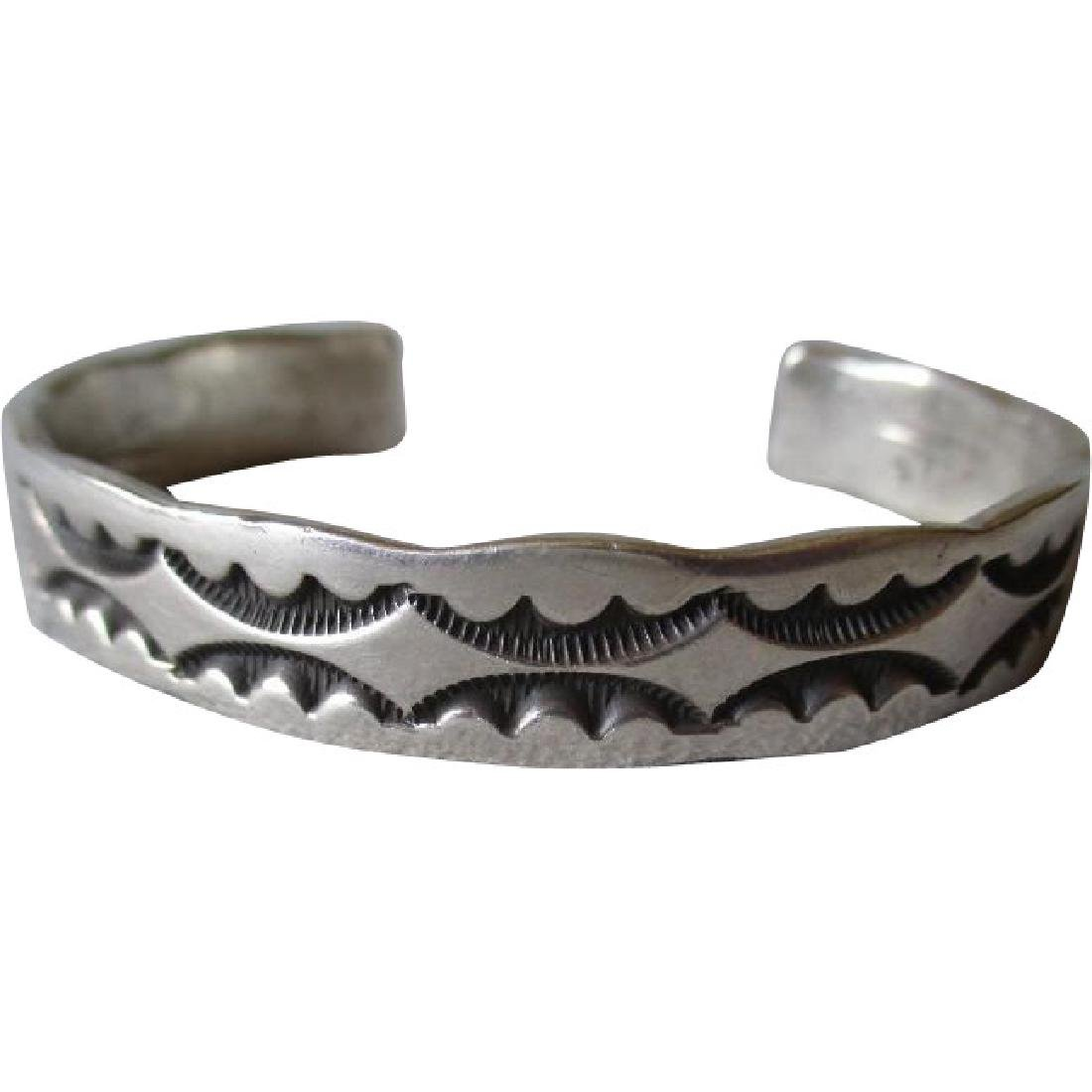 Fabulous Stamped Sterling Silver Cuff Bracelet - Signed