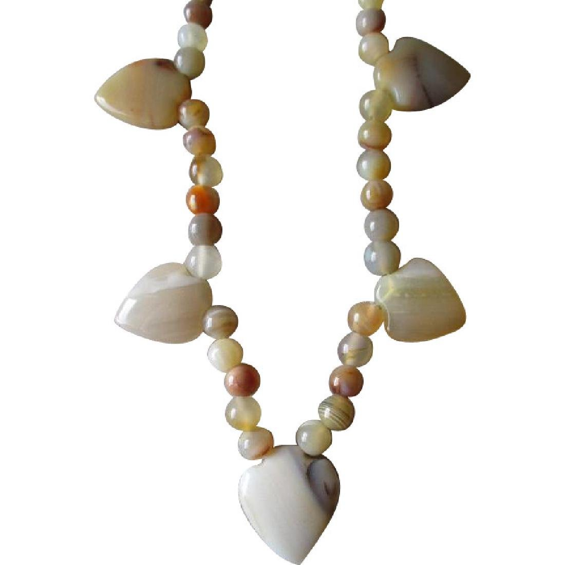 Beautiful Agate Bead and Heart Necklace