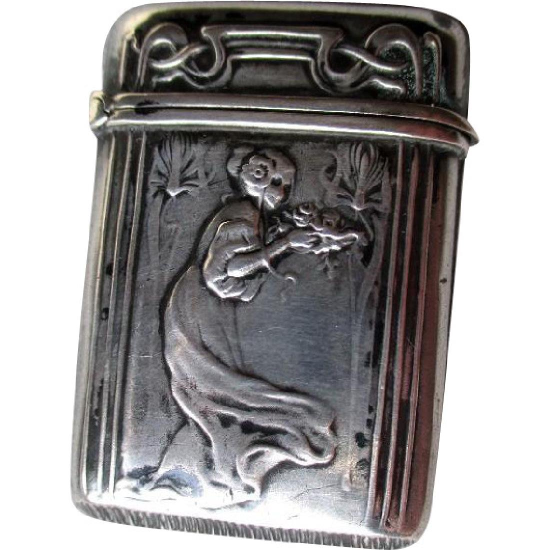 Great 800 Silver Art Nouveau Match Safe