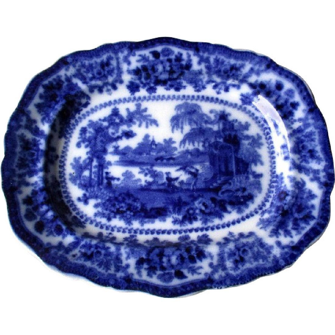 "Antique English Flow Blue ""Fairy Willow ' Platter"