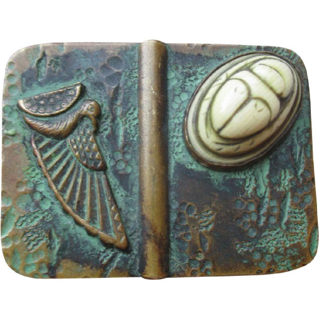 Edwardian Bronze Egyptian Theme Pin or Brooch