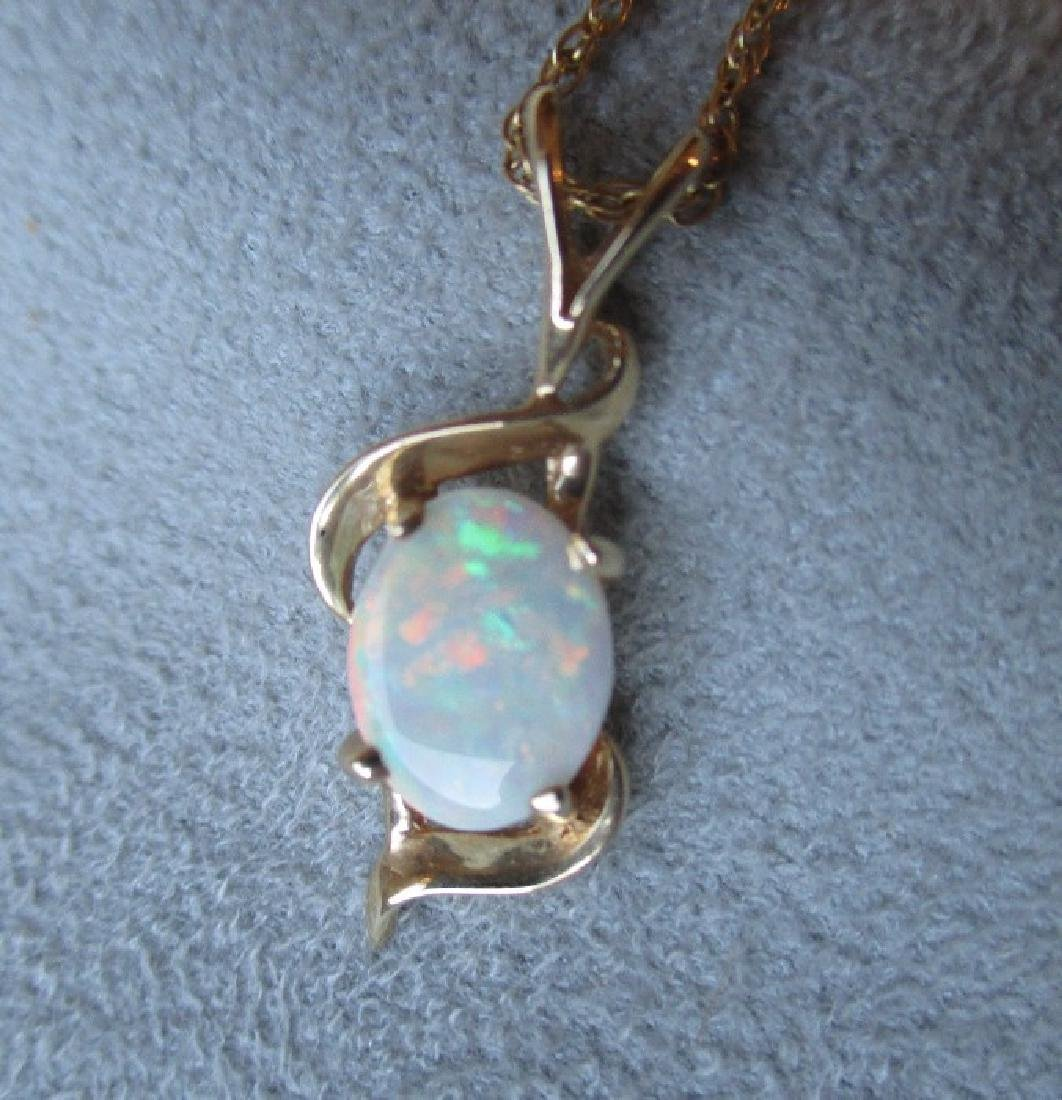 14k Gold and Opal Pendant Necklace - 2