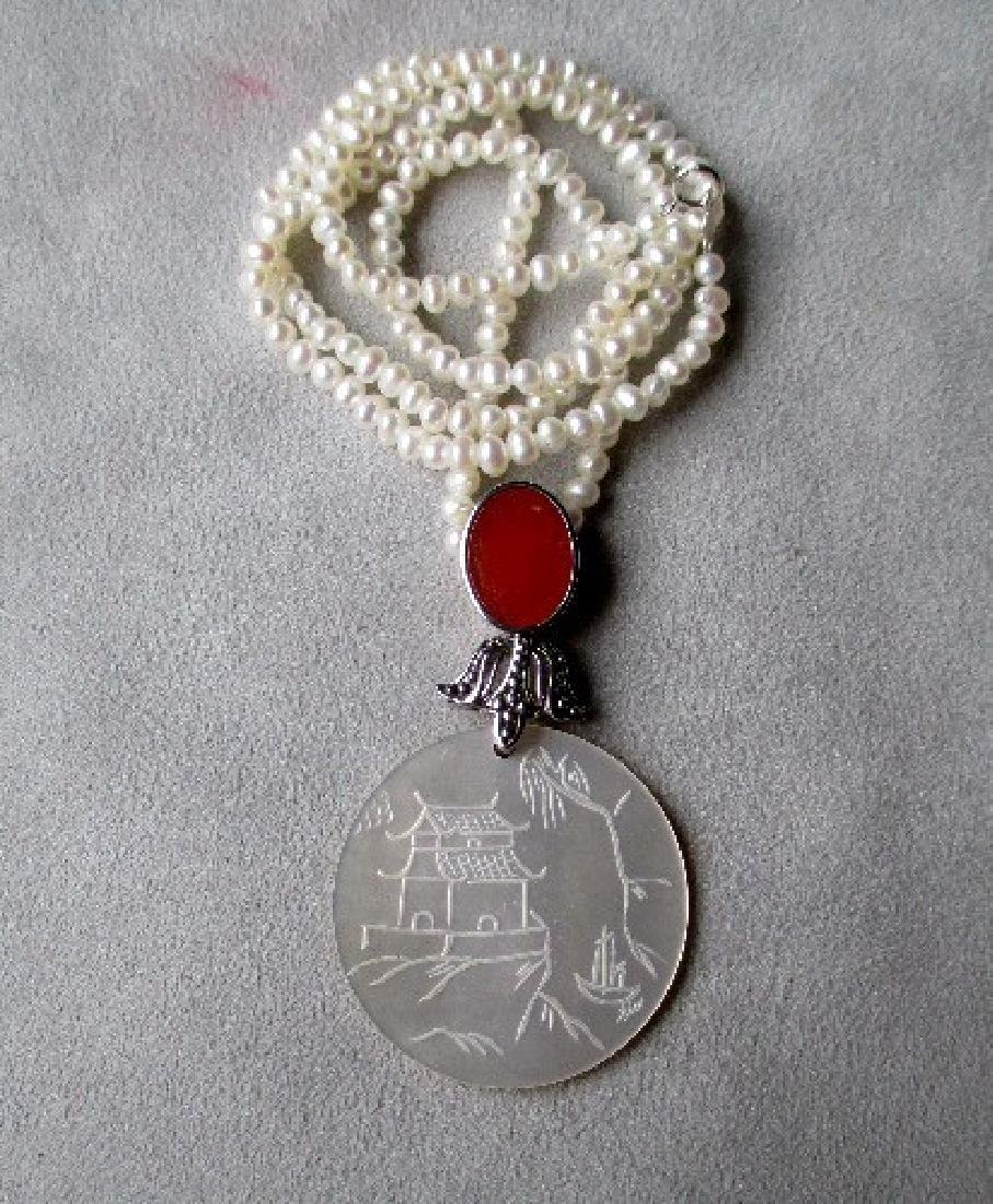 Engraved Mother of Pearl Pendant with Fresh Water