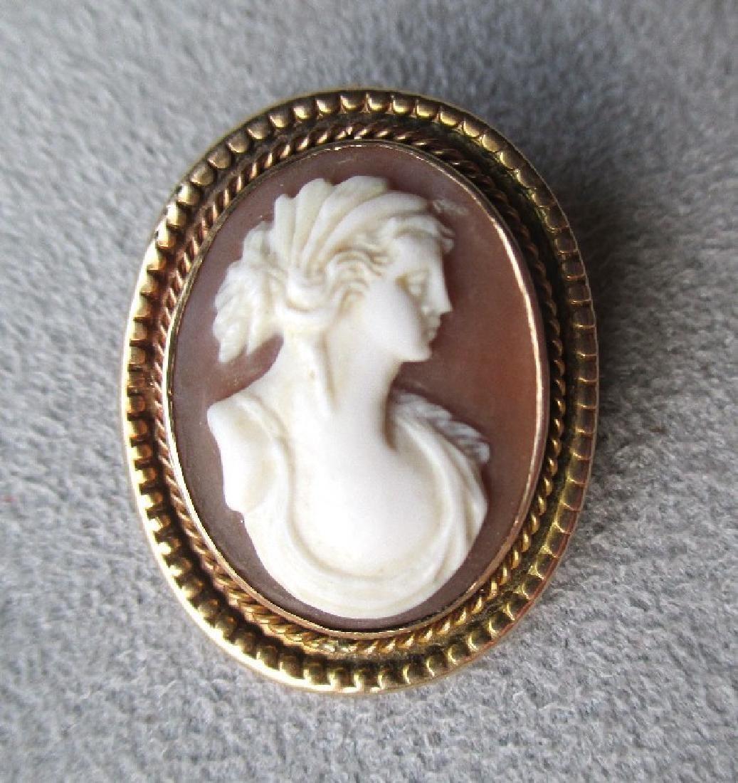 10k Gold Shell Cameo Pendant / Pin