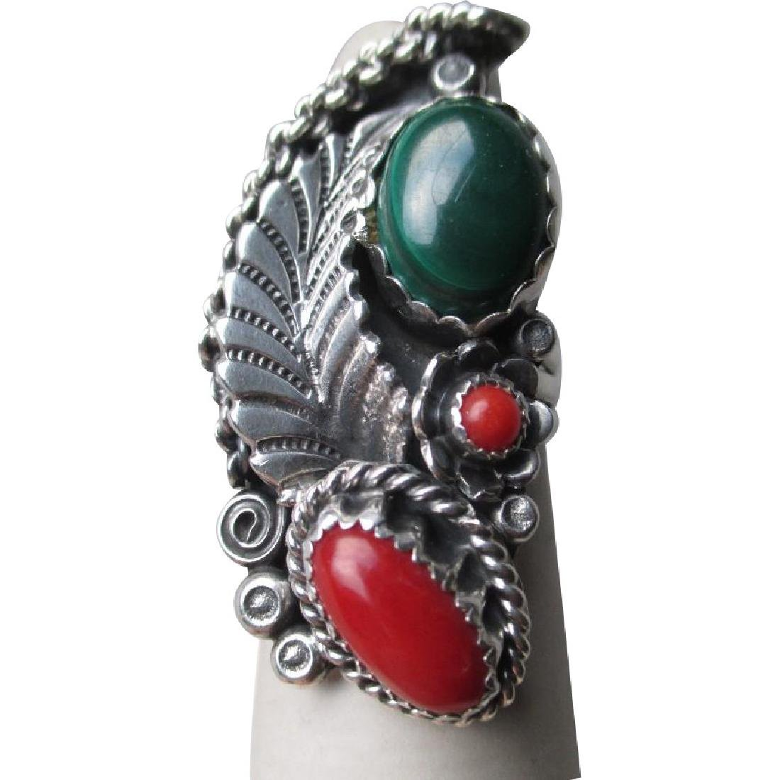 Gorgeous Unmarked Silver with Malachite and Coral Ring