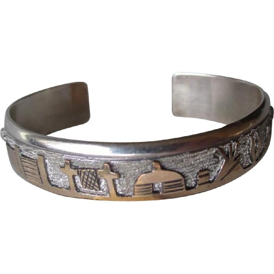 Fabulous Navajo Sterling Silver Story Teller Bracelet