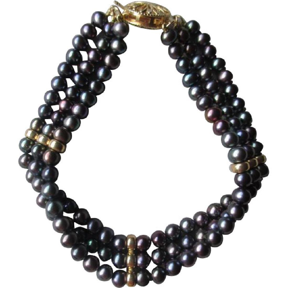 Gorgeous Black Freshwater Pearl Bracelet with 14k Gold