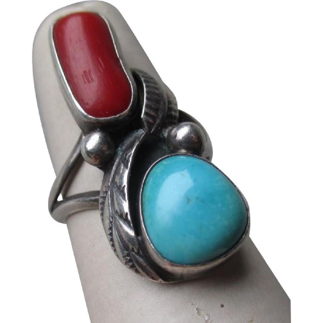 Great Signed Sterling Sivler and Turquoise with Coral