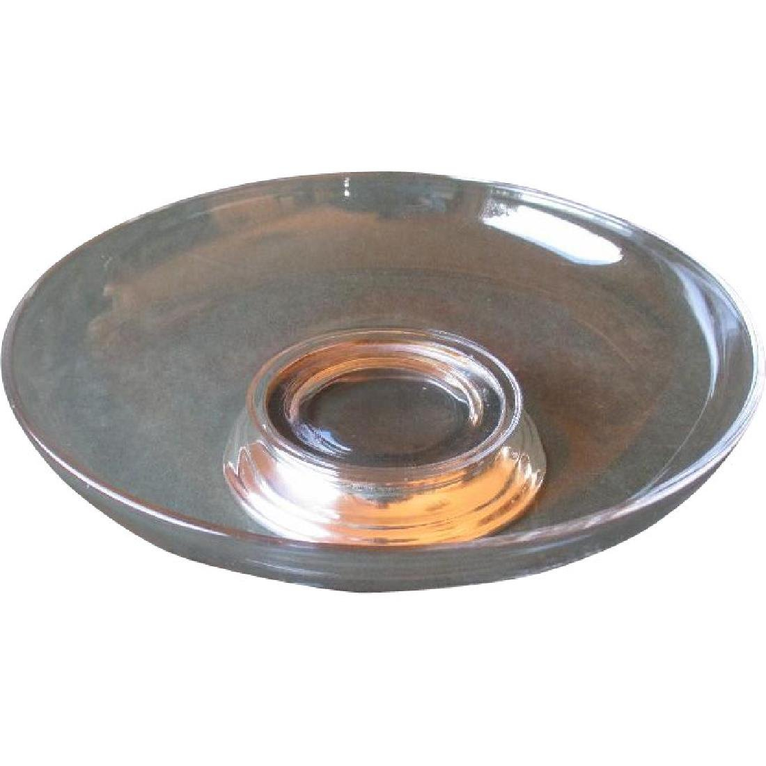 Beautiful Glass Center / Serving Bowl with Sterling