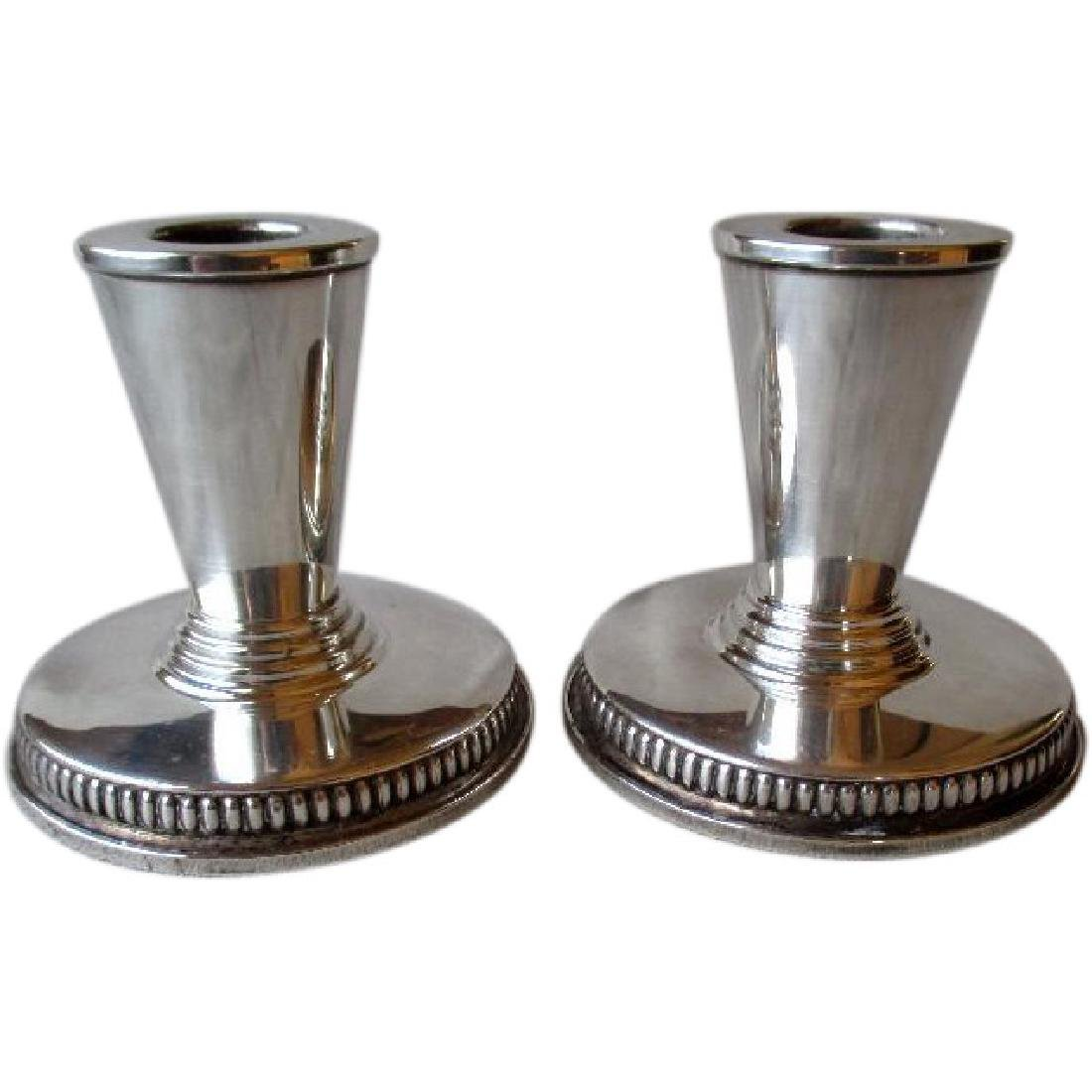 Great Matched Pair Sterling Weighted Art Deco Candle