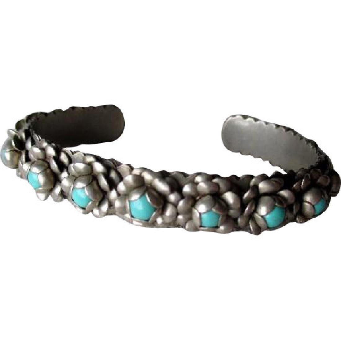 Beautiful Mexican Silver and Turquoise Flower Cuff