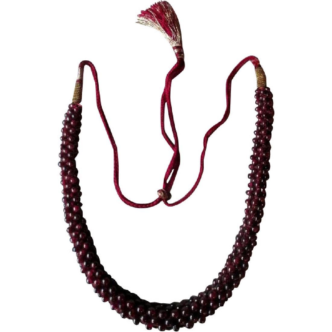 Beautiful Adjustable Garnet Rope Necklace