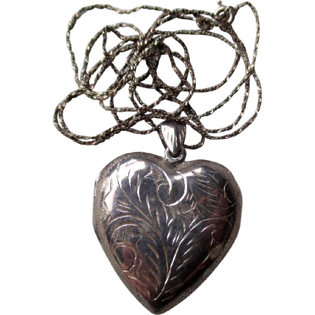 Engraved Heart Shape Sterling Silver Locket